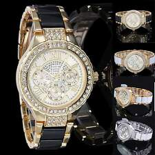 Fashion Women Ladies Crystal Bracelet Leather Analog Quartz Wrist Watch New