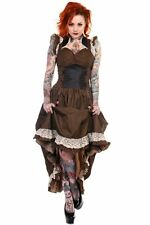 Gothic Victorian Vintage Steampunk Black Brown Copper D Ring Corset Dress