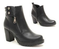 ankle boots woman heel 8 combat booties eco-leather black