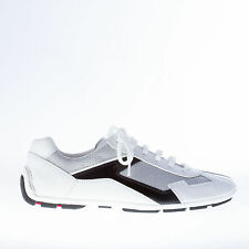 PRADA men shoes White leather and silver tech fabric sneaker with black trim