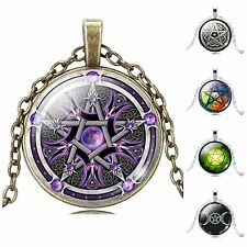 PENTAGRAM - Triple Goddess Moon Wicca Pagan Glass Cabochon Pendant FREE Necklace