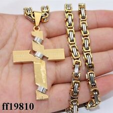Mens Silver Gold Stainless Steel PENDANT NECKLACE Byzantine Link Chain 18-36inch