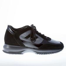 HOGAN women shoes Interactive black suede and patent leather lace up sneaker