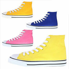 Womens High Top Canvas Sneakers / Pink, Yellow, Orange, Blue / Lace Up Trainers