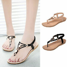 Women Bohemia Flat Sandals Casual Beach Shoes Thong Slippers Flip Flops Toe Post