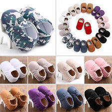 Newborn Infant Toddler Baby Boys Girls Soft Sole Kids Tassel Suede Shoes 0-18M