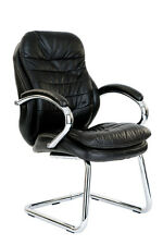 Santiago-C Leather Faced Cantilever Visitors Office Chair by Eliza Tinsley