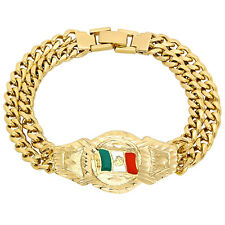 Mens 14k Gold Plated/Layered/Plated Mexican Flag Double Cuban Link Curb Bracelet