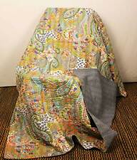 Paisley Handmade Quilt Indian Kantha Bedspread Home decor Cotton Bed throws Grey