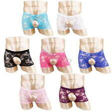 Sexy Mens Lace Lingerie Underwear Open Front&Back Backless Briefs Thong Shorts