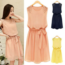 Womens Casual Chiffon Sleeveless Bowknot Belt Sleeveless Pleated Vest Mini Dress