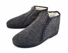 Mens Women Zipped Slippers Shoes Felt Boots Grey Wool Sheepskin size 6 7 8 10 11