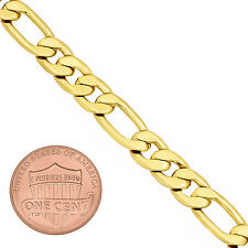 Men's 7mm Wide 14K Yellow Gold-Plated Classic Figaro Link Chain