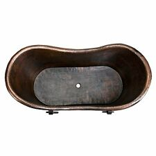Premier Copper Products 72 in. Hammered Copper Double Slipper Bathtub with