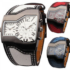 OULM Military Sports Dual Time Zones Movements Leather Band Mens Quartz Watch