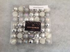49 MINI CHRISTMAS TREE BAUBLES SILVER WHITE GLITTER SPARKLE SHINY CLEAR SMALL