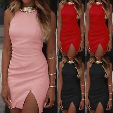 Women Round Neck Sleeveless Solid Side Slit Bodycon Pencil Short Sexy Mini Dress