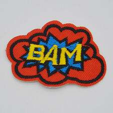 BAM letter Embroidery Ironon patch sewn For clothing eyeball applique badge Hat
