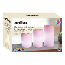 3pc REMOTE CONTROL COLOUR CHANGING LED FLAMELESS WAX CANDLES WITH TIMER MOOD NEW