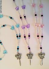 Butterfly Silver Clear ID Badge Holder Beaded Lanyard Fashion Necklace HANDMADE