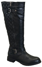 """NEW Women's Knee High Riding Flat Heel Boots Shoes Faux Leather (16"""" - Black )"""