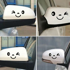 1 Pair Cute Smiling Face Car Rearview Mirror Stickers Reflective Decals Precious