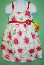 Penelope Mack Dress Girls Pretty Floral Dress Lined White Pink Green Red Trim