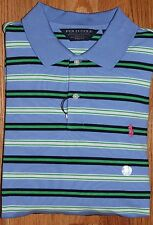 New Ralph Lauren Mens Polo Golf Blue Collared Button Up Striped PRO FIT Shirt