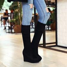 New Womens Chic Faux Suede Knee High Knight Boots Wedges Platform Winter shoes