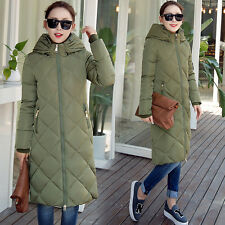 Winter Silm Women Coat Padded Hooded Parka Warm Outwear Trench Long Jacket Down