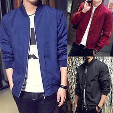 Men's Short Stand Collar Jacket Casual Slim Fit Coat Long Sleeve Outwear Stylish