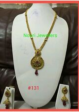 New Indian Bollywood Costume Jewellery Long Necklace And Earrings Set Gold plate