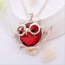 Tide Round shape Chain 2016 Owl  necklace Statement Vintage  Rhinestone Pendant