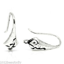 Wholesale Ear Wire Hooks Earring Findings Pattern Carved Silver Tone 18mmx10mm