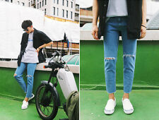 no.1626 Urban Street Mens Distressed Ripped Knee Ninth Jeans Denim Pants
