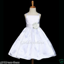 WHITE PRINCESS WEDDING FAIRY SATIN FLOWER GIRL DRESS 12M 18M 2/2T 3/4 6 8 10 12