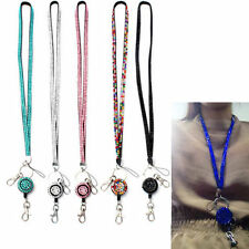 Fashion Neck Rhinestone Lanyard Retractable Strap ID Badge Reel Phone Key Holder