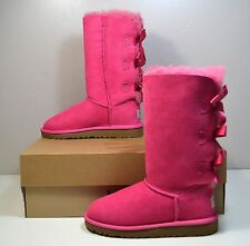 NIB GIRLS UGG AUSTRALIA UGGS CERISE HOT PINK BAILEY BOW TALL BOOTS SHOES 1Y
