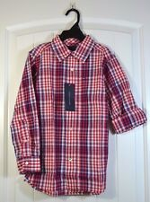 NWT BOYS YOUTH TOMMY HILFIGER RED PLAID LONG SLEEVE BUTTON UP DOWN SHIRT SZ S XL