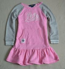 NWT GIRLS KID POLO RALPH LAUREN PINK GRAY SWEATSHIRT DRESS SZ 4T 5 6
