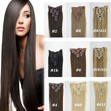 """100% Full Head Clip In Remy Human Hair Extensions 16"""" 18"""" 20""""22"""" 70g Hair Weft"""