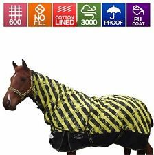 100% Waterproof Horse Rug n Detachable Neck set Cotton Lined Rainsheet 4'9 t 6'9