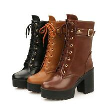 New Women's Motorcycle Leather Shoes Ankle Boots High Heels Zip Lace Up Fashion