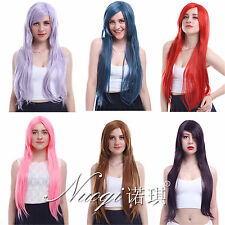 Fashion Womens Long Party Full Wigs Straight  Synthetic Side Bangs Hair
