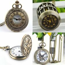 Retro Steampunk Bronze Pocket Watch Quartz Long Sweater Chain Pendant Necklace