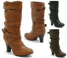 WOMENS LADIES BLOCK MID HEEL SLOUCH SMART PULL ON MID CALF ANKLE BOOTS SIZE