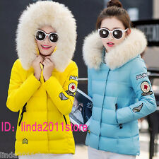 Winter Ladies Fur Collar Hooded Jacket Parka Down Cotton Warm Womens Jacket Coat