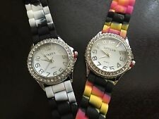 Watch Woman Geneva Silicone Rubber White Face Large Numbers  Striped Bands  W34