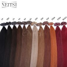 "Neitsi 16"" Pre Bonded Nail U Tip Keratin Glue Remy Human Hair Extensions 50S"
