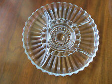 """VINTAGE 1960s CLEAR PRESSED GLASS 5-PART KROMEX LAZY SUSAN RELISH TRAY- 12"""" EXCL"""